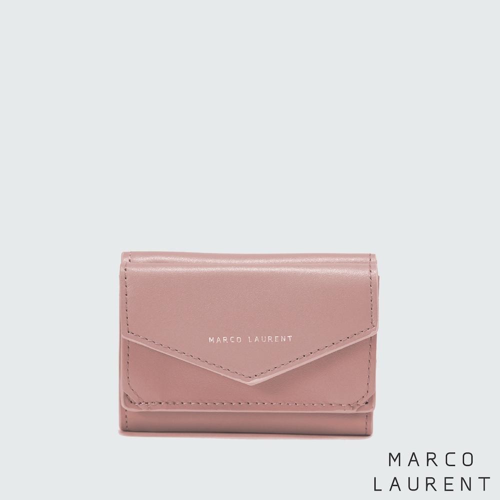 MARCO LAURENT Bertha 牛皮雙層短夾 - 玫瑰粉