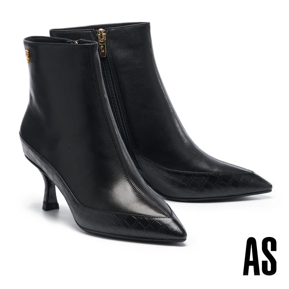 短靴 AS 時髦俐落鱷魚紋異材質拼接全真皮尖頭高跟短靴-黑