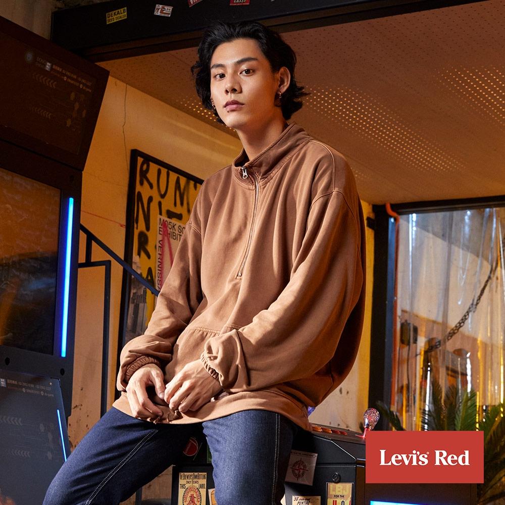 Levis Red 工裝手稿風復刻再造 男款 半開襟重磅大學T 450GSM厚棉 下擺抽繩
