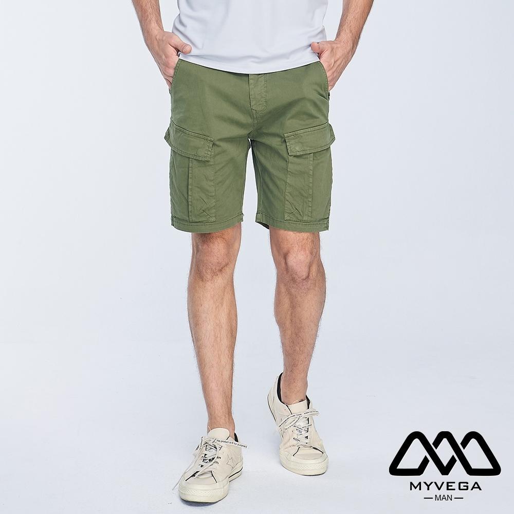 MYVEGA MAN工裝撞色裝飾線短褲-綠