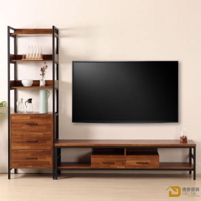 D&T德泰傢俱格萊斯積層木工業風三抽展示架+6尺電視櫃-240.8x44.9x196cm