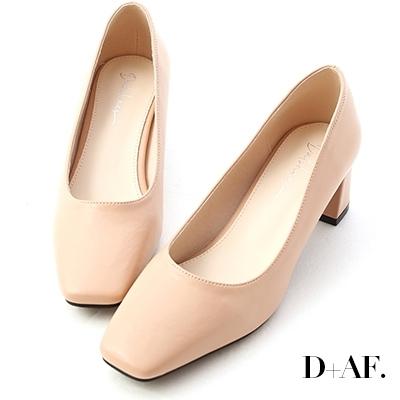 D+AF 輕透春氛.素面方頭中跟鞋*粉