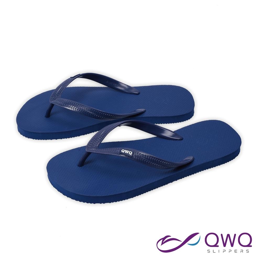 QWQ 男款橡膠防滑夾腳拖鞋-鞋帶保固-休閒拖鞋-經典TOP系列-深藍色(ABAA00404)
