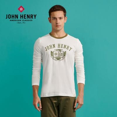 【JOHN HENRY】美式徽章印花長袖T恤-白