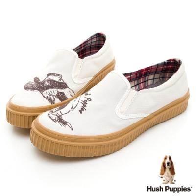 Hush Puppies 俏皮巴吉度狗懶人便鞋-米白