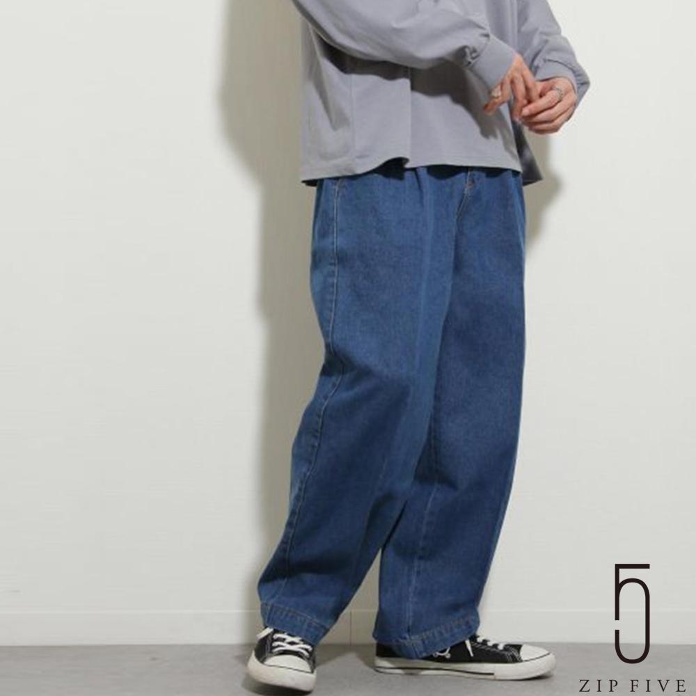ZIP日本男裝 UNCORD 丹寧寬褲氣球褲 立體褶線 (6色) product image 1