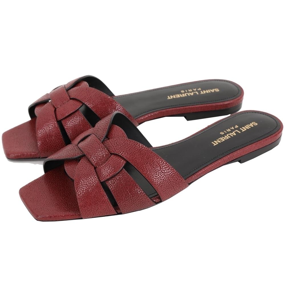 YSL Saint Laurent TRIBUTE 編織結飾平底涼拖鞋(紅色)
