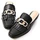 D+AF 時髦專屬.金屬環釦流蘇穆勒鞋*黑 product thumbnail 1