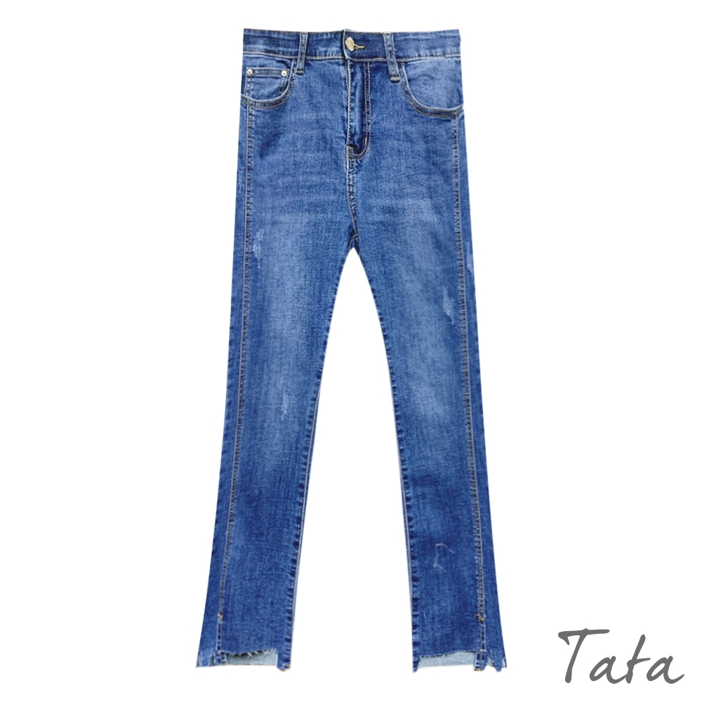 褲腳抽鬚小喇叭牛仔褲 TATA-(S~L) product image 1