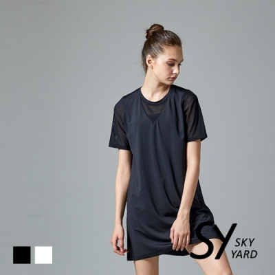 【SKY YARD 天空花園】紗網V領剪接長版運動上衣-黑色