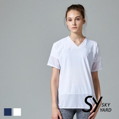 【SKY YARD 天空花園】網紗拼接休閒造型上衣-白色