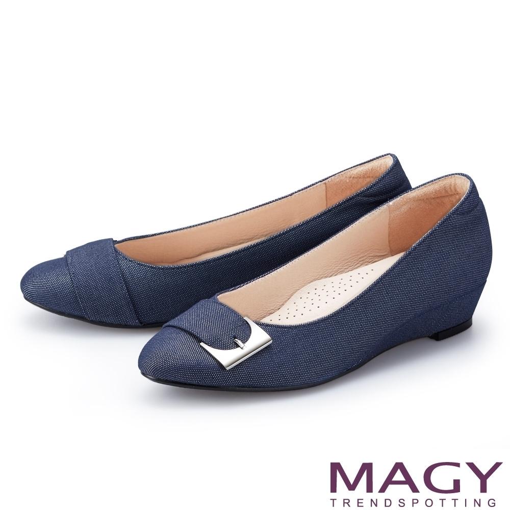 [今日限定] MAGY熱銷平底鞋均價1180 (B.金屬扣帶布面楔型低跟鞋-藍色)