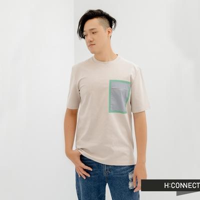 H:CONNECT 韓國品牌 男裝-簡約抽象圖案T-Shirt-淺灰色