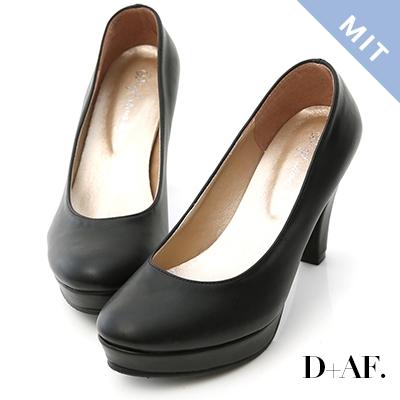 D+AF 經典主打.MIT素面圓頭8.5cm高跟鞋*黑