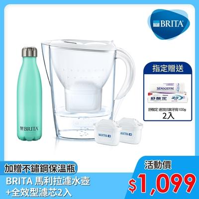 [獨家組合送舒酸定牙膏*2]德國BRITA 好水講究限定禮盒(共2芯) 加贈不鏽鋼保溫瓶