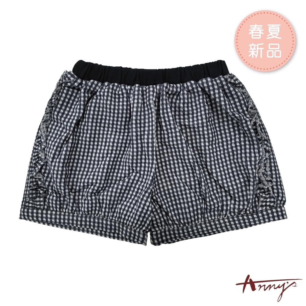 Annys安妮公主-小清新格紋春夏款荷葉邊造型鬆緊短褲*9358藍色