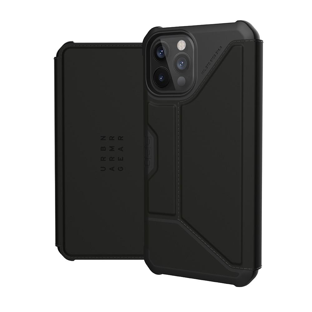 UAG iPhone 12 Pro Max 翻蓋式耐衝擊保護殼-極簡黑