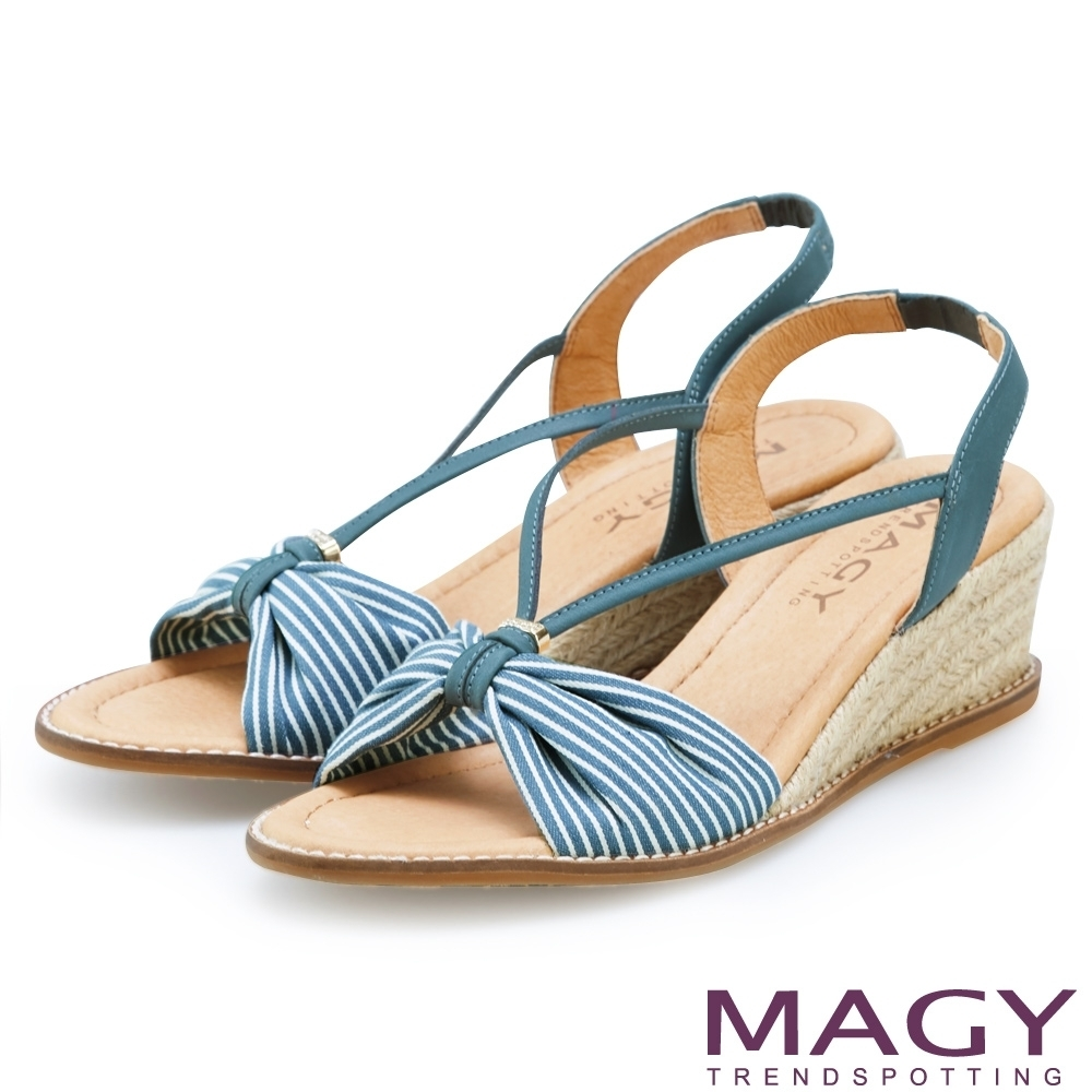 [今日限定] MAGY熱銷平底鞋均價1180 (I.條紋麻編楔型涼鞋-藍綠)