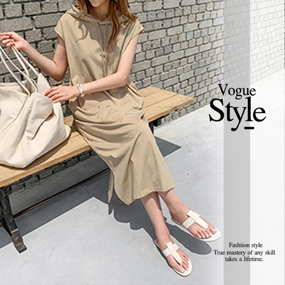 2F韓衣-連帽抽繩素面休閒洋裝-2色(F)