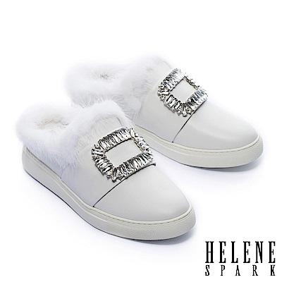 拖鞋 HELENE SPARK 奢華暖意水貂毛方鑽飾全真皮休閒拖鞋-白