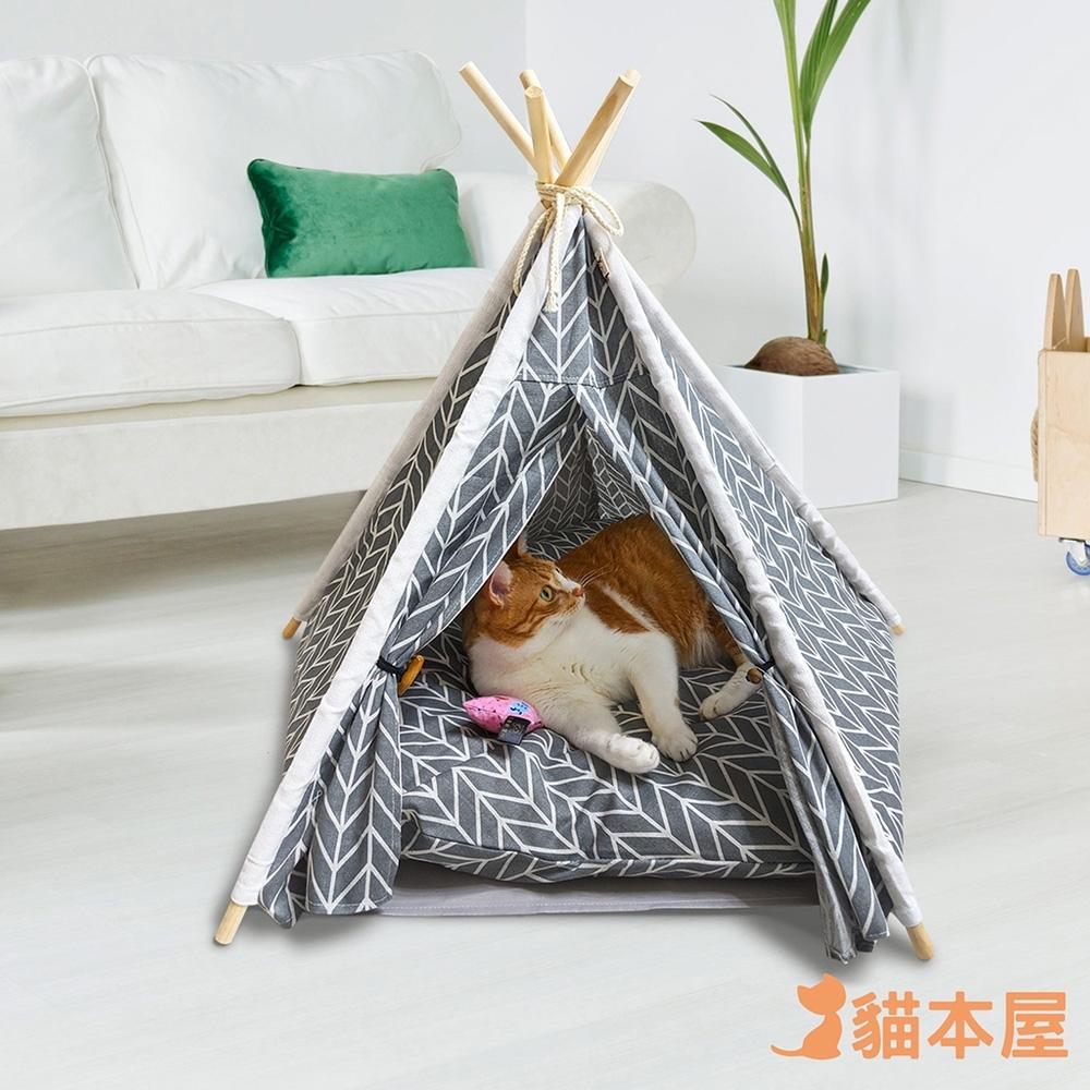 貓本屋 狗窩/貓窩 可拆洗四季通用 五角型亞麻寵物帳篷 product image 1