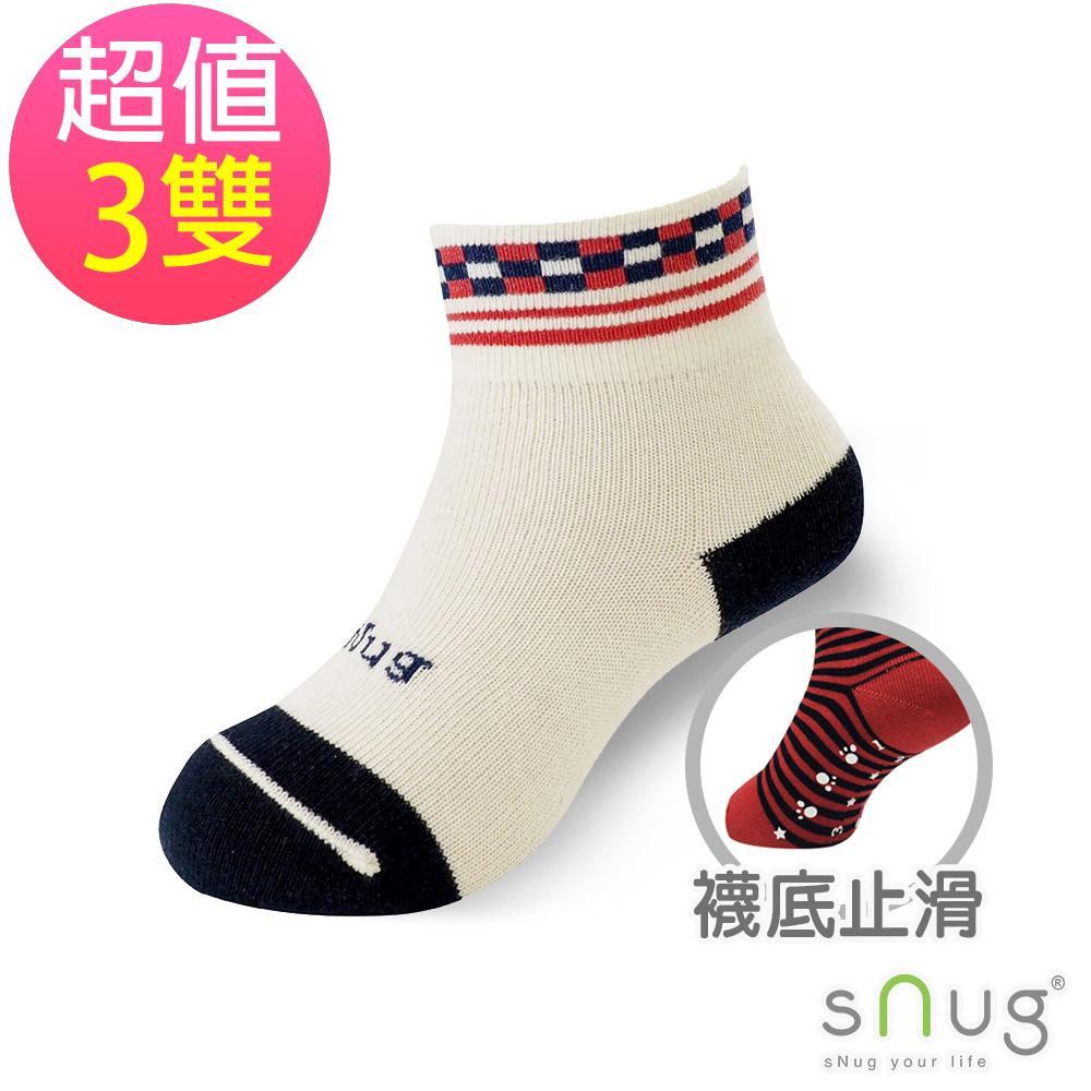 SNUG 可愛舒適無痕止滑除臭童襪-方塊紅(3入組)