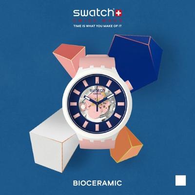 SWATCH 生物陶瓷 BIG BOLD系列手錶DIVERSIPINK個性裸粉-47mm