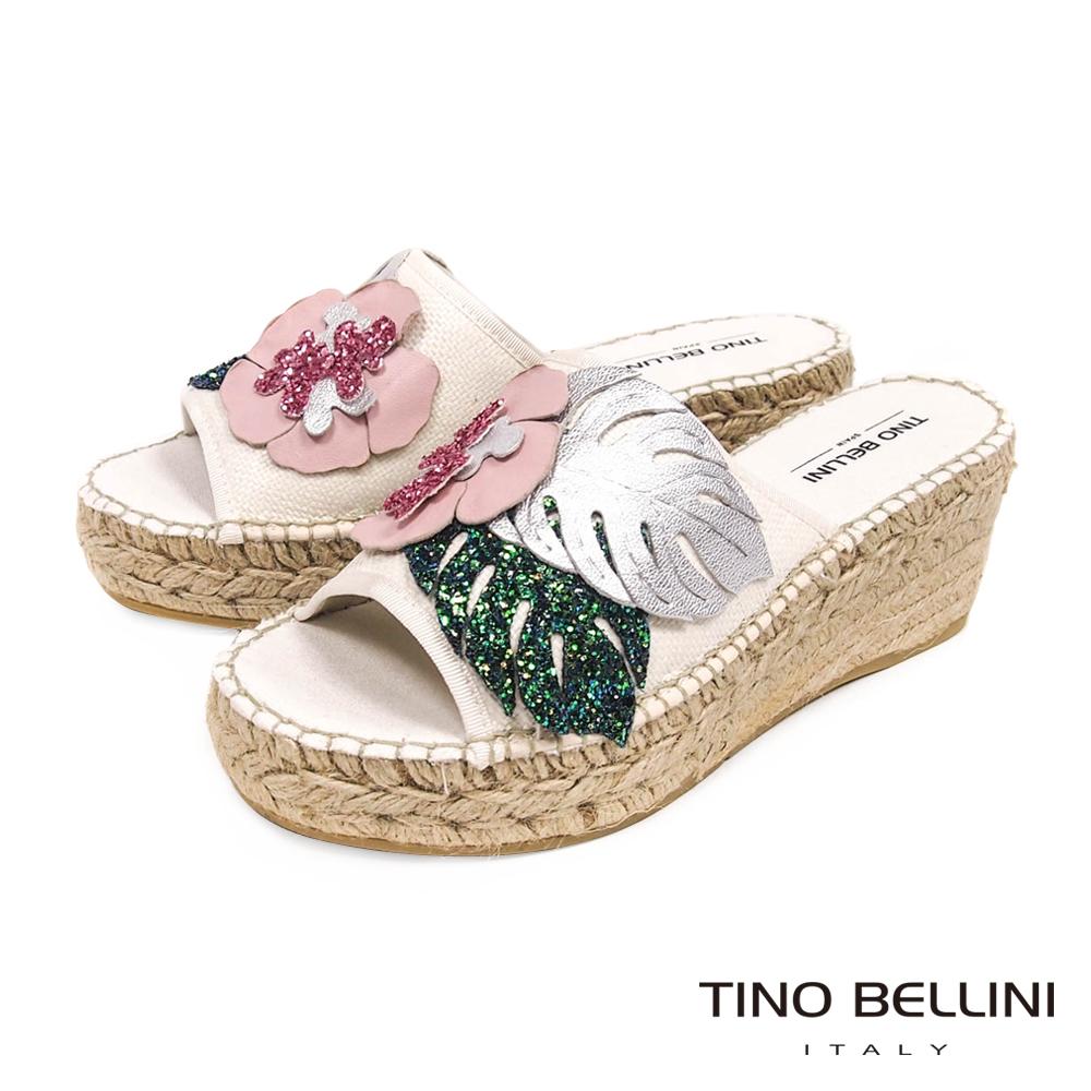 Tino Bellini 西班牙進口亮彩花妍麻編楔型涼拖鞋 _ 白