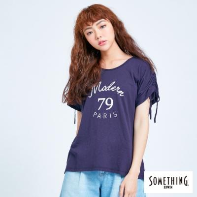 SOMETHING 清新氣質 抽繩寬版短袖T恤-女-丈青