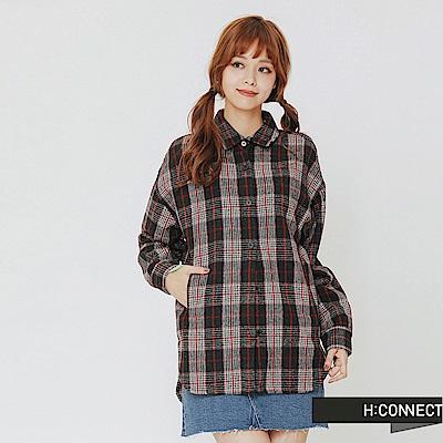 H:CONNECT 韓國品牌 女裝-復古格紋襯衫-紅
