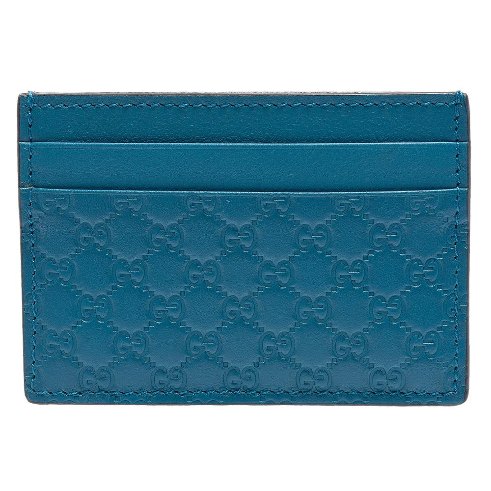 GUCCI 經典Guccissima壓紋牛皮萬用信用卡夾(藍綠色)
