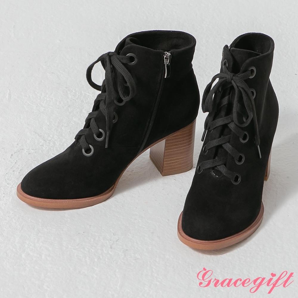 Grace gift-韓系木紋粗跟綁帶靴 黑