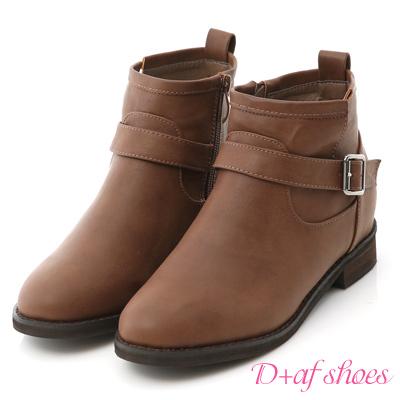 D+AF 熱銷指定.單釦環內增高軍風短靴*咖