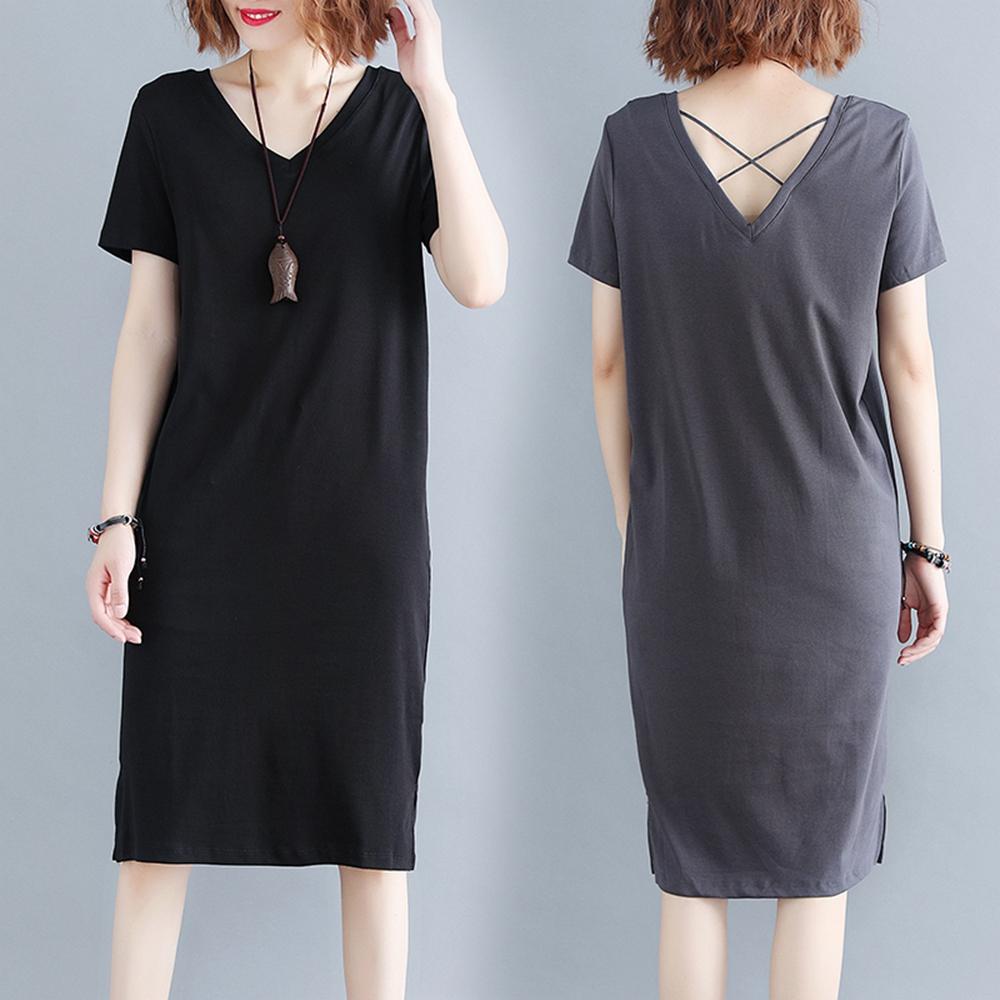 簡約大方V領純色裙襬開叉洋裝-XL-4XL(共二色)-Keer