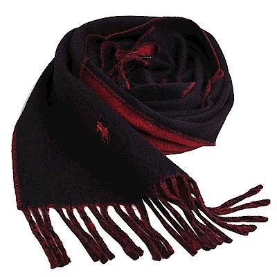 RALPH LAUREN POLO 小馬刺繡LOGO雙面配色義大利製羊毛圍巾(黑/紅)