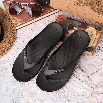 ATTA運動風簡約夾腳拖鞋-黑色