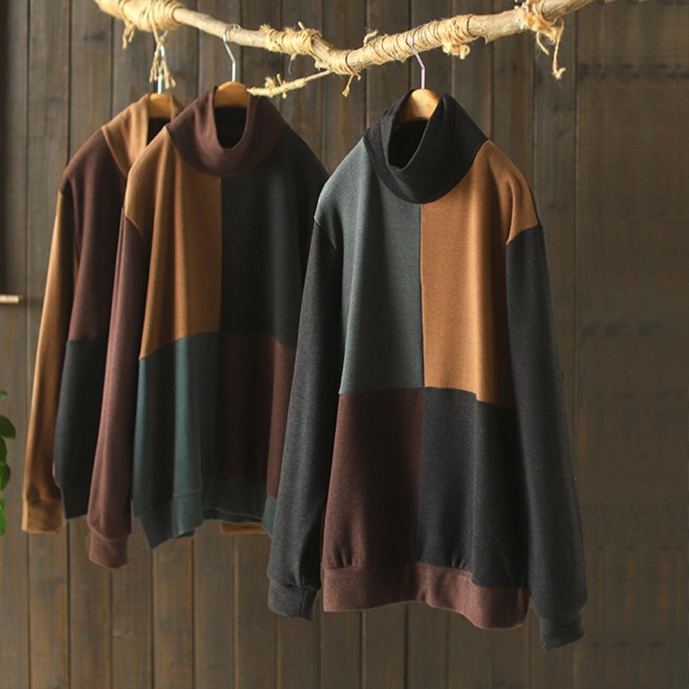 棉質撞色拼接高領內搭衫寬鬆衛衣T恤-設計所在