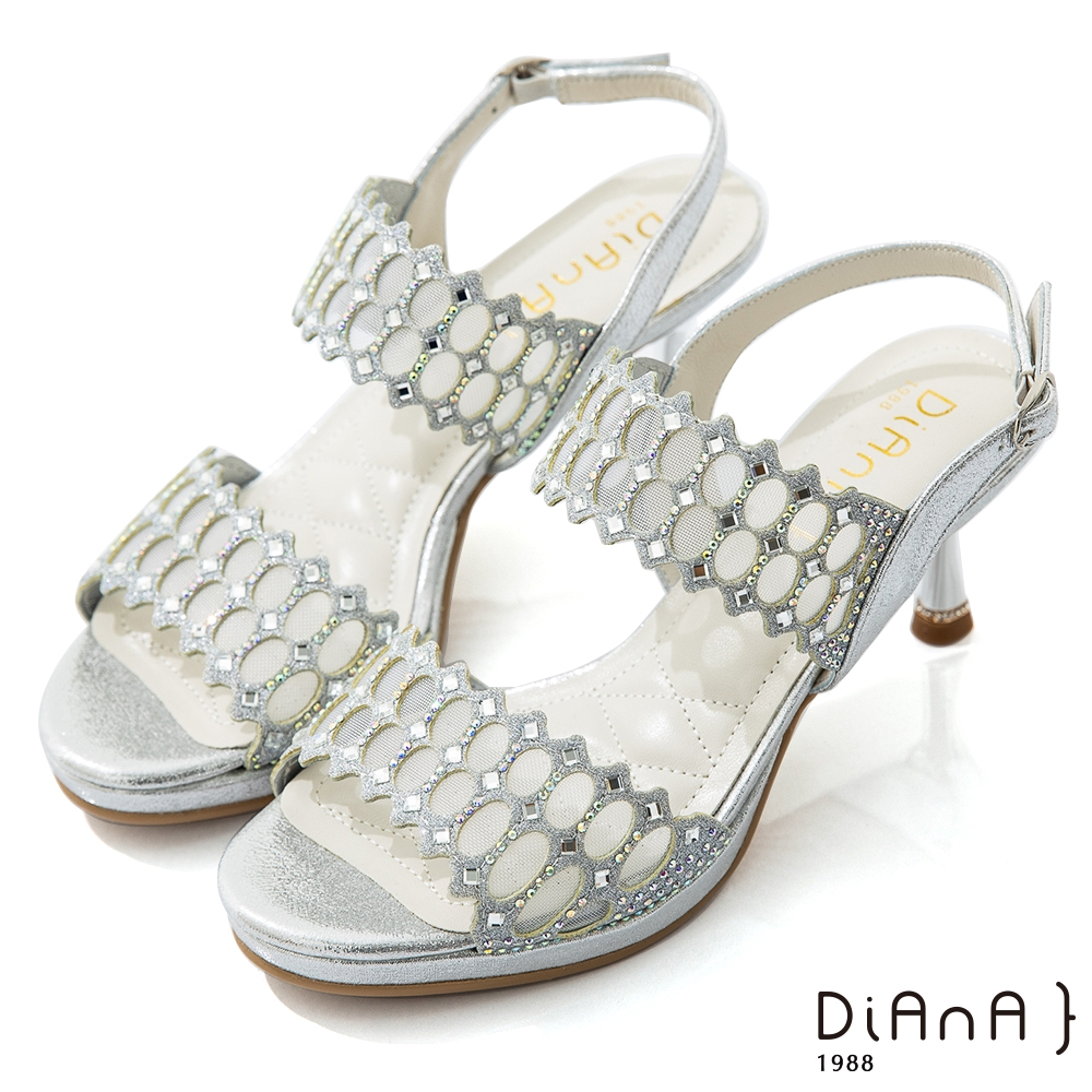 DIANA 7cm星光銀彩托斯細網縷紡紗電鍍高跟涼鞋-浪漫戀曲-銀