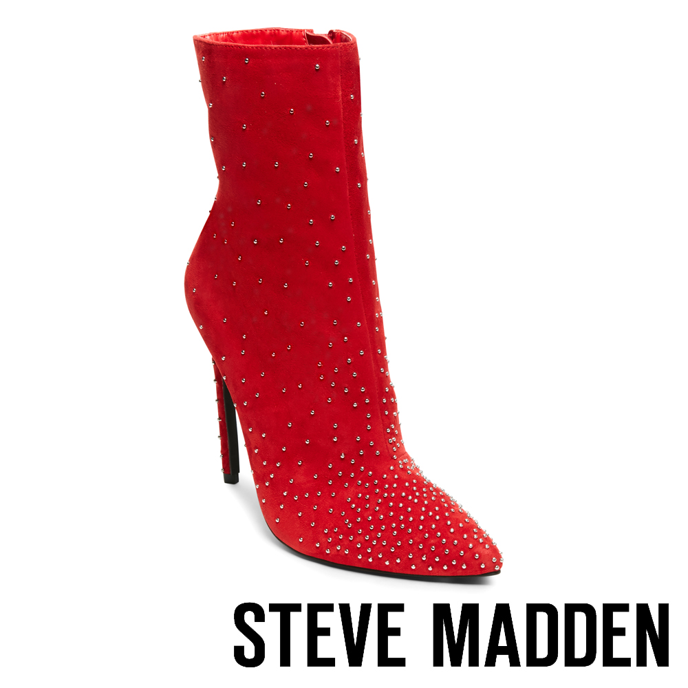 STEVE MADDEN-WHIT-閃耀鉚釘尖頭高跟短筒靴-絨紅