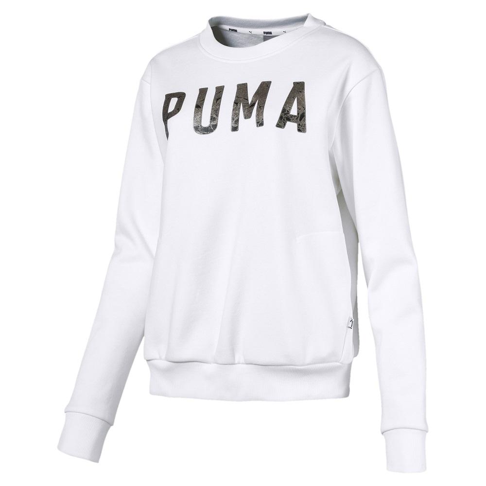 PUMA-女性基本系列運動風刷毛圓領衫-白色-歐規