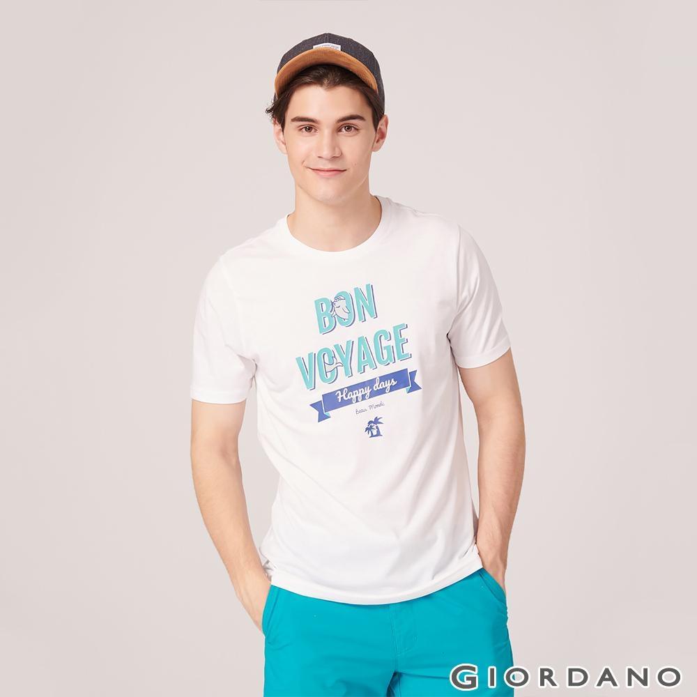 GIORDANO 男裝SUN AND SEA系列印花短袖T恤-72 標誌白