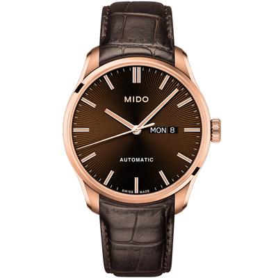 MIDO 美度 BELLUNA II 經典機械腕錶-玫瑰金x棕/42mm