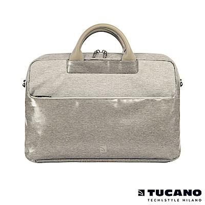 TUCANO Duetto 質感亮面時尚電腦包 15吋-銀灰白