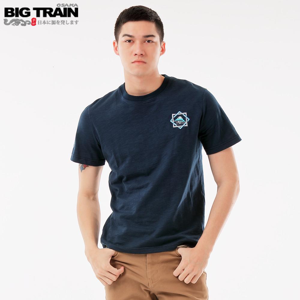 BigTrain 福鶴家徽圓領短袖-男-深藍