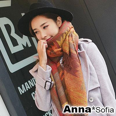 AnnaSofia 異國圖騰毛邊 流蘇長披肩圍巾(黃咖紅色)