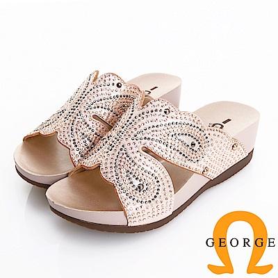 GEORGE 喬治皮鞋 水鑽蝴蝶真皮後底拖鞋 -粉色