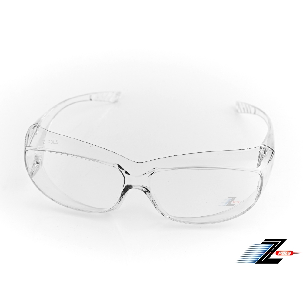 【Z-POLS】可包覆眼鏡於內設計 全透明PC安全鏡片 抗UV400防風沙粉塵眼鏡Y2