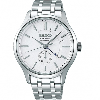 SEIKO精工Presage動力儲存顯示機械錶(SSA395J1)-銀