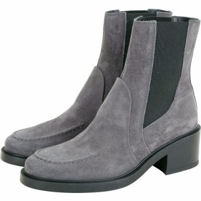 TOD'S 麂皮拼接設計切爾西踝靴(灰色)