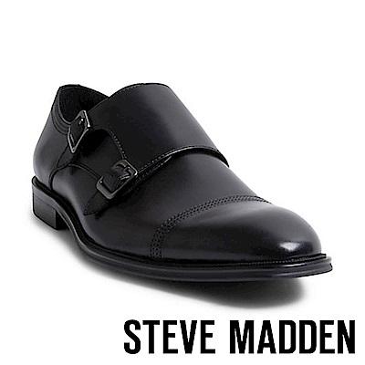 STEVE MADDEN-MADDER 真皮男士美式雙扣式紳士鞋-黑色